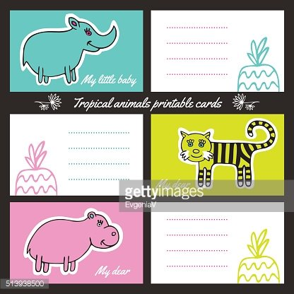 Tropic animals printable cards
