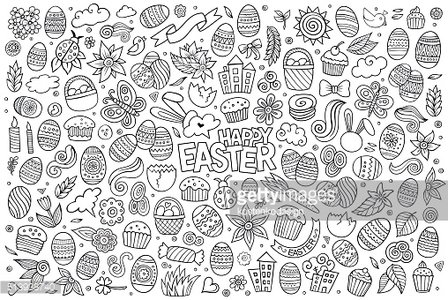 Sketchy vector hand drawn doodles cartoon Easter objects