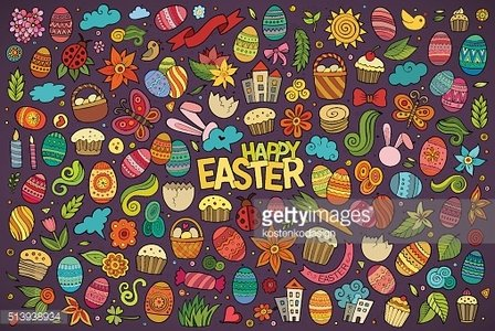 Colorful vector hand drawn doodles cartoon set of Easter objects