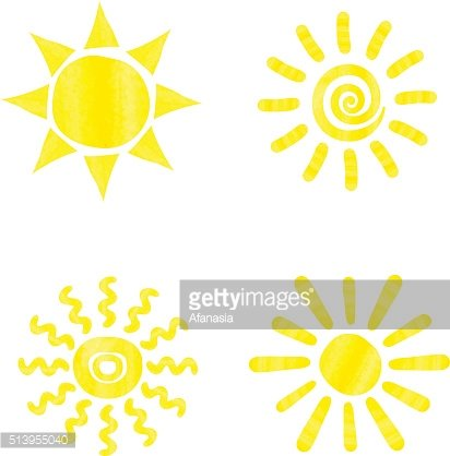 Set of watercolor sun icons.
