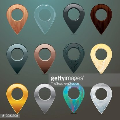 Location pins in different materials and textures