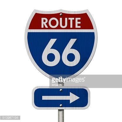 American Route 66 Highway Road Sign