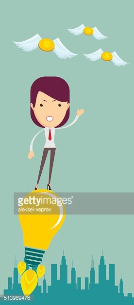 Business woman flying on the light bulb