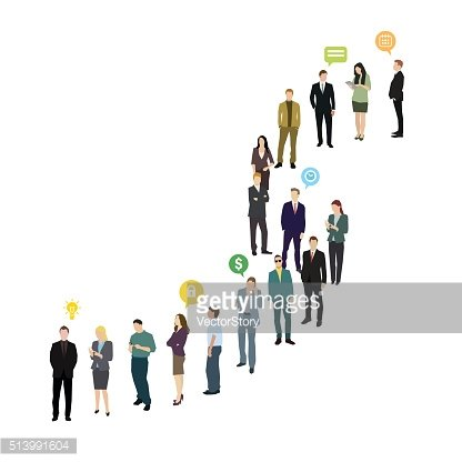 Group of business and office people standing in line