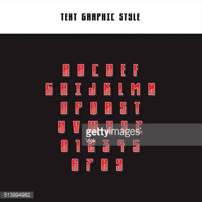 Text Graphic Style. Appearance for Illustrator. Vector Letters, Numbers