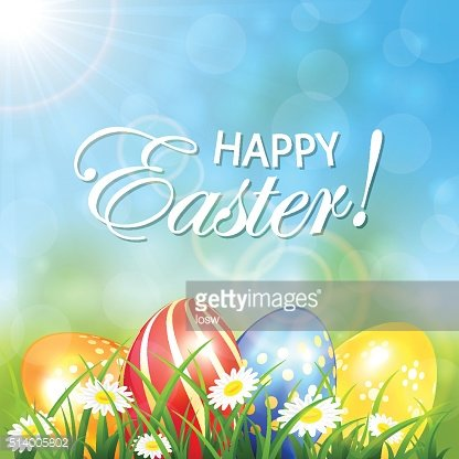 Spring background with colored Easter eggs