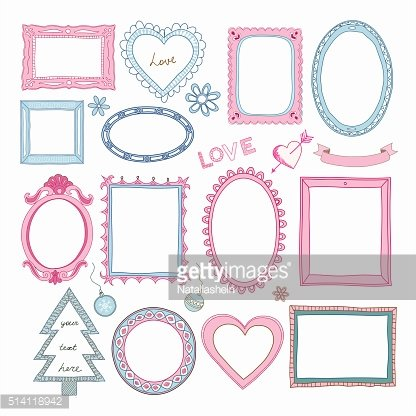 Set of doodle frames and other elements