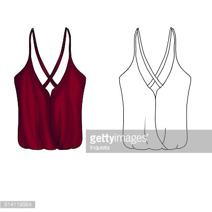 Flat technical sketch template Crossed string blouse