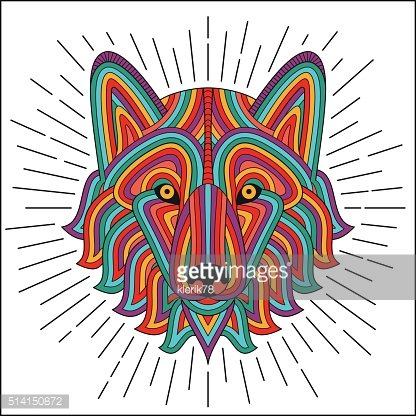 Creative stylized wolf head in ethnic linear style