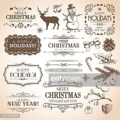 Christmas and New Year decoration collection.