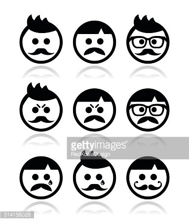 Man with moustache or mustache, avatar vector icons set
