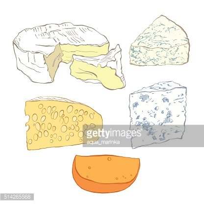 Cheese collection, objects isolated on white background.