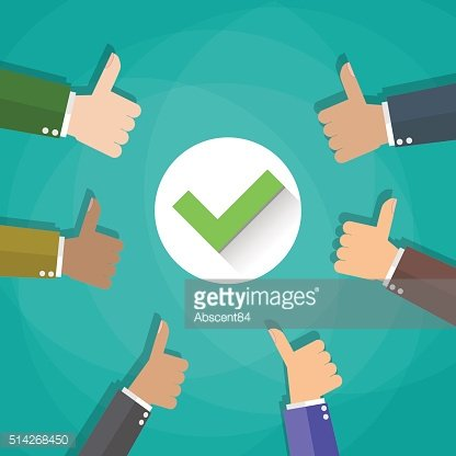 Six cartoon Businessmans hands hold thumbs up. positive checkmark in