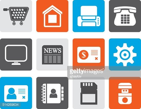 Flat Business, office and website icons