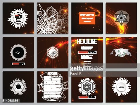 Set of 12 creative cards, square brochure template design. Abstract