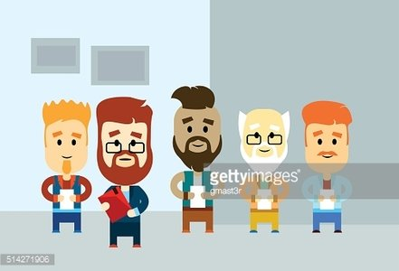 Cartoon Business Man Holding Paper Document Group Hipster Team Office