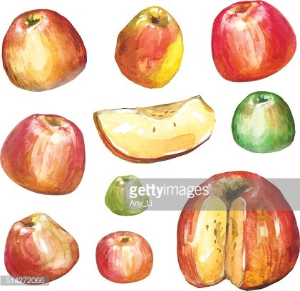 Apples painted with watercolors on white paper.