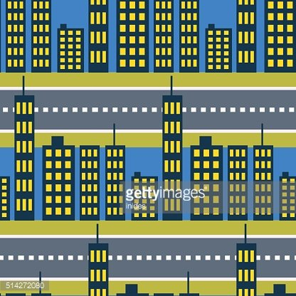 City skyscrapers and road street seamless pattern