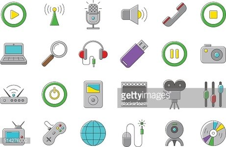 Set of multimedia vector icons