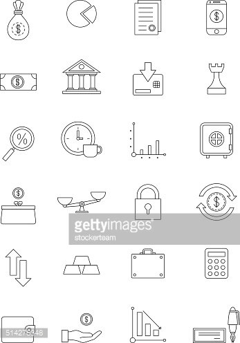 Vector black finance icons set