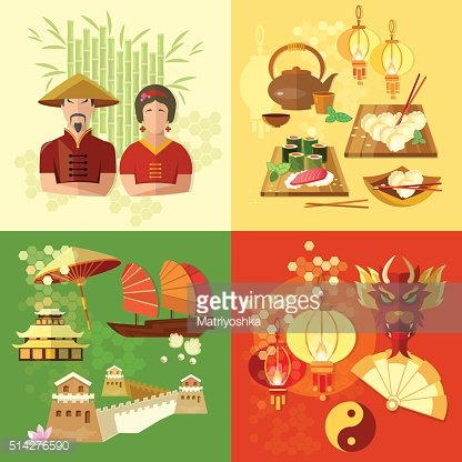 China Chinese culture and traditions vector set