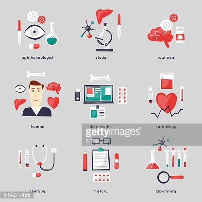 Health care and medical, medicine and chemical set of icons.