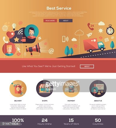 Flat design best service website header banner with webdesign elements