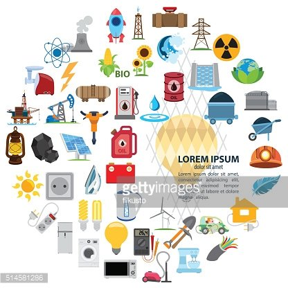 Infographics set with power and energetics industry symbols
