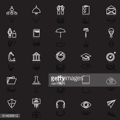 Job resume line icons with reflect on black
