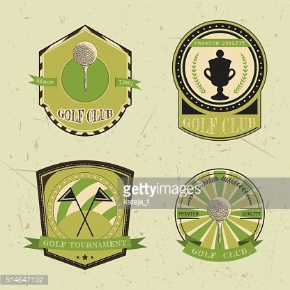 Set of sport labels with golf ball, championship cup, flags