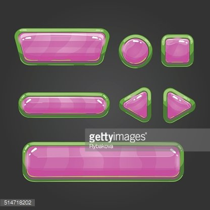 Set pink button in cartoon style