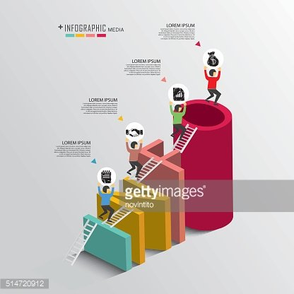 Success in business info graphic with isometric concept