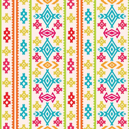 Aztec Tribal Art Colorful Seamless Pattern premium clipart