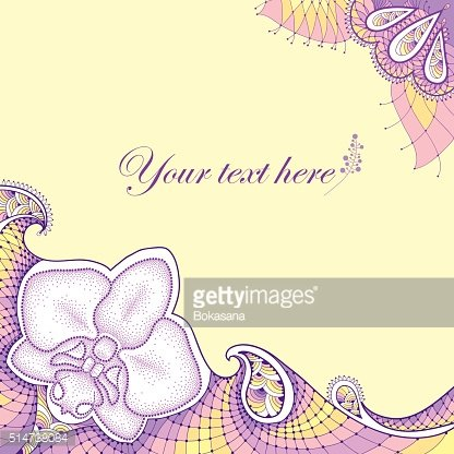 Dotted Orchid with decorative violet lace on the yellow background.