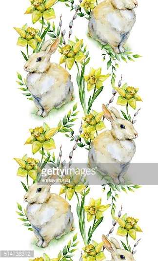 Seamless watercolor Easter pattern with rabbit