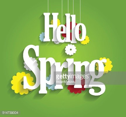 Hello Spring background on green background