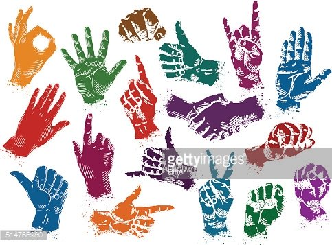 hands icons set isolated on white background. vector illustration