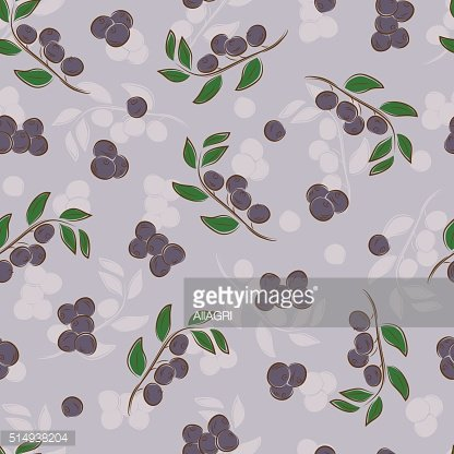 Fruit background. Berries seamless pattern. Bilberry. Purple floral wallpaper.