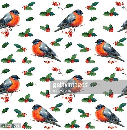 Watercolor seamless background with red winter bird bullfinch
