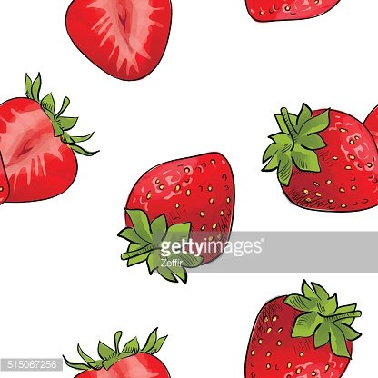 Pattern of strawberries over white background