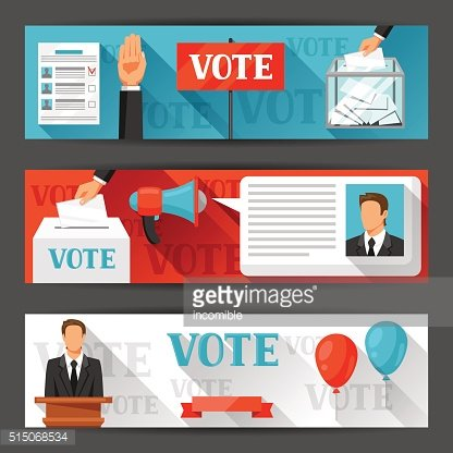 Vote political elections banners. Backgrounds for campaign leaflets, web sites