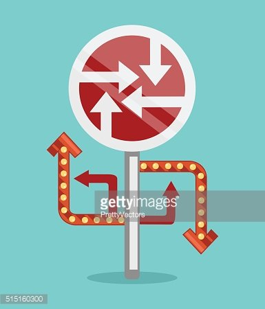 Sign with many directions. Vector flat illustration