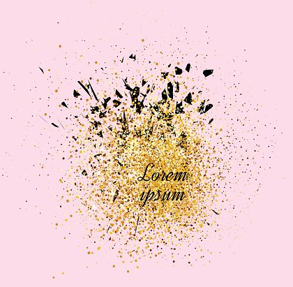 Gold banner. Gold sparkles on pink background. Banners logo