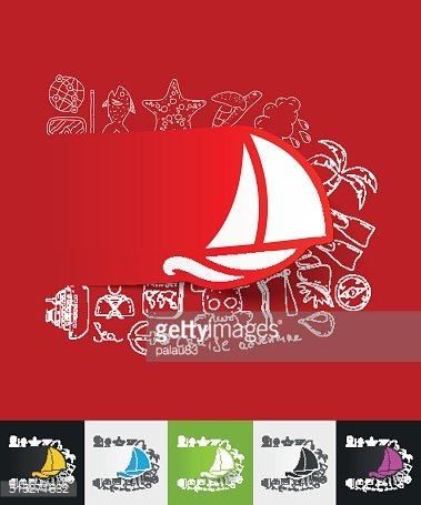sailboat paper sticker with hand drawn elements
