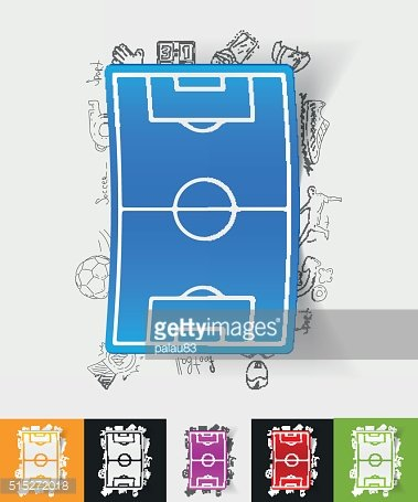 playing field paper sticker with hand drawn elements