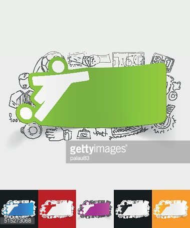 football player paper sticker with hand drawn elements