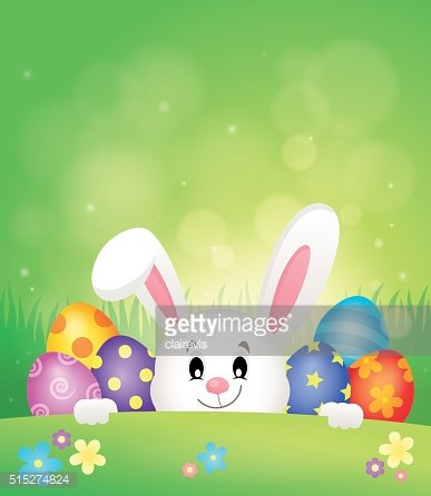 Easter eggs and lurking bunny theme 1
