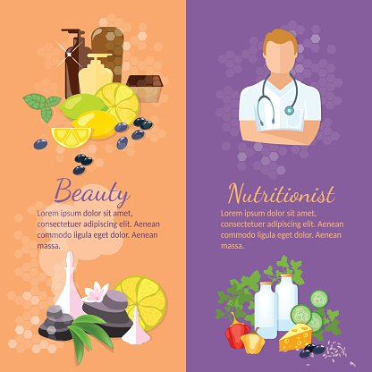 Beauty And Health Banner Spa Natural Cosmetics Dietetics Clipart Image