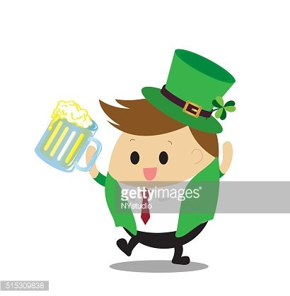 Vector of Happy Businessman drinking beer for St.Patrick day