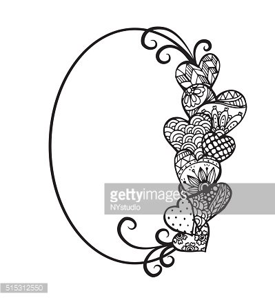 abstract artistic floral and heart with oval text frame